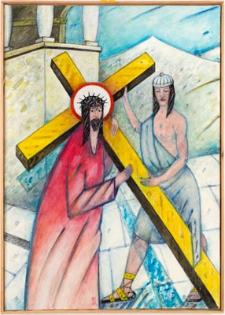 Droga krzyżowa. Stacja II. Jezus przyjmuje krzyż na swoje ramiona