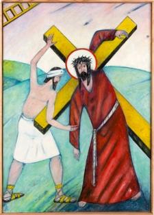 Droga krzyżowa. Stacja V. Szymon Cyrenejczyk pomaga nieść krzyż Jezusowi