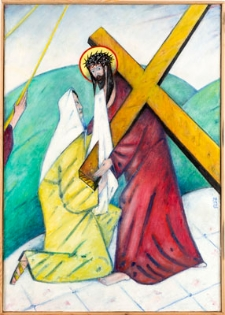 Droga krzyżowa. Stacja VI. Święta Weronika ociera twarz Jezusowi