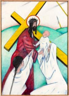 Droga krzyżowa. Stacja VIII. Jezus pociesza płaczące nad Nim Niewiasty