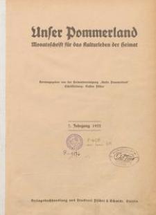 Unser Pommerland : Monatsschrift für das Kulturleben der Heimat : 7. Jahrgang 1922