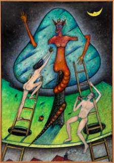 Obraz olejny - Kuszenie Adama i Ewy