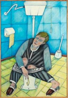 Obraz olejny - Mężczyzna w toalecie