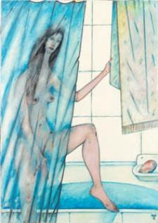 Obraz olejny - Kobieta pod prysznicem 2