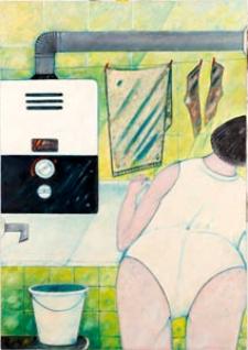 Obraz olejny - Kobieta w łazience