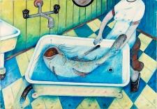 Obraz olejny - Ryba w wannie