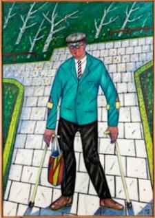 Obraz olejny - Mężczyzna o kulach
