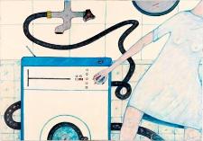Obraz olejny - KObieta włącza pralkę