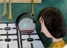Obraz olejny - Kobieta w kuchni