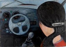 Obraz olejny - Kobieta za kierownicą