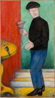 Obraz olejny - Mężczyzna w salonie