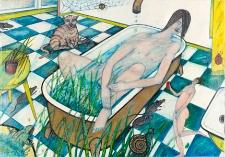 Obraz olejny - Kobieta w wannie