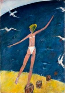 Obraz olejny - Dziewczyna na plaży