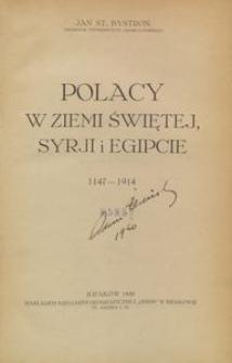Polacy w Ziemi Świętej, Syrji i Egipcie (1147-1914)