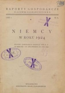 Niemcy w roku 1924 : (raport gospodarczy Konsula Gen. R.P. w Berlinie - St. Zielińskiego, za rok 1924)