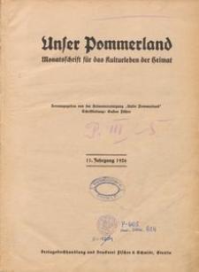 Unser Pommerland : Monatsschrift für das Kulturleben der Heimat : 11. Jahrgang 1926