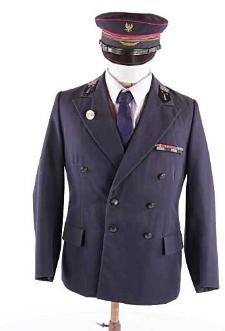 Kurtka mundurowa gabardynowa z czapką, koszulą i krawatem