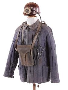 Bluza robocza ocieplana, kask górniczy z lampą czołową akumulatorową