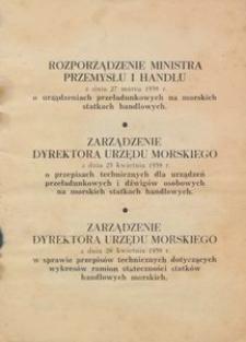 Rozporządzenie Ministra Przemysłu i Handlu z dnia 27 marca 1939 r. o urządzeniach przeładunkowych na morskich statkach handlowych