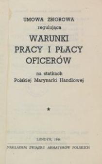 Umowa zbiorowa regulująca warunki pracy i płacy oficerów na statkach Polskiej Marynarki Handlowej