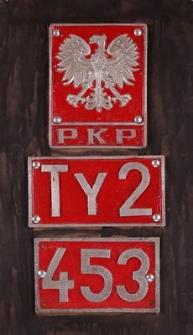 Tablica z oznakowaniem parowozu Ty 2 nr ser. 453