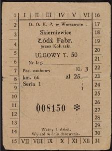 Bilet ulgowy T. 50