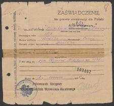 Zaświadczenie na prawo ewakuacji do Polski