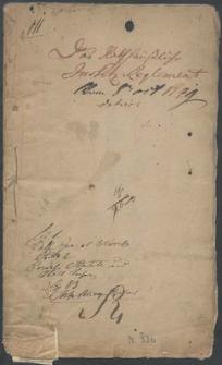 Das Rathhaussliche Justitz - Reglement [miasta Słupska] von 8. Oct[ober] 1749 datiret