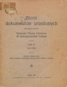 Zbiór dokumentów urzędowych dotyczących stosunku Wolnego Miasta Gdańska do Rzeczypospolitej Polskiej. Część 9, Rok 1933