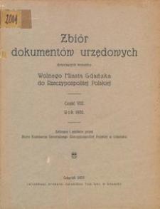Zbiór dokumentów urzędowych dotyczących stosunku Wolnego Miasta Gdańska do Rzeczypospolitej Polskiej. Część 8, Rok 1932