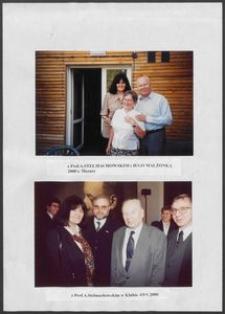 Kartka z albumu - Anna Bogucka Skowrońska z prof. A. Stelmachowskim i jego małżonką, Mazury 2000, oraz z prof. A.Stelmachowskim w Klubie AWS (2000)