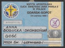Wizyta Apostolska Ojca świętego Jana Pawła II w Polsce Gdańsk-Sopot 5-6 czerwca 1999 r.