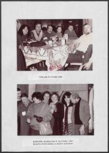 Kartka z albumu - Strajk w ZNMR 1980, Kościół Mariacki 1983, Halina Winiarska i Jerzy Kiszkis