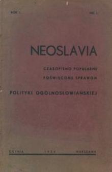 Neoslavia : czasopismo popularne poświęcone sprawom polityki ogólnosłowiańskiej. R. 1, z. 1 / 1934