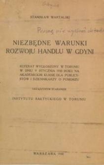 Niezbędne warunki rozwoju handlu w Gdyni