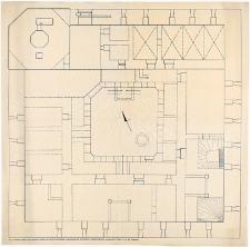 Człuchów - Zamek. Rzut poziomy zamku w części parterowej z naniesionymi wykopami i odsłoniętymi piwnicami