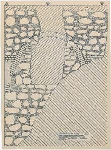 Człuchów - Zamek. Wyk. I . Profil sklepienia piwnicznego i ściany obronnej południowej od strony dziedzińca