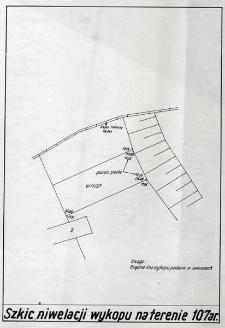 Słupsk - Szkic niwelacji wykopu na terenie 107 ar.