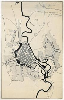 Słupsk. Lokalizacja bram i baszt II poł. XVIII w.