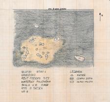 Słupsk - Grodzisko. Rzut poziomy trzeciej warstwy paleniska. Stanowisko 1