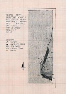 Słupsk - Grodzisko. Rzut poziomy fragmentu konstrukcji drewnianej. Stanowisko 1, wykop II, warstwa III
