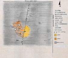 Słupsk - Grodzisko. Rzut poziomy warstwy II paleniska. Stanowisko 1, wyk. II, Ar 83