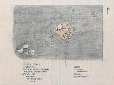Słupsk - Grodzisko. Rzut 4-go poziomu paleniska i pobliskiego skupiska kamieni. Stanowisko 1