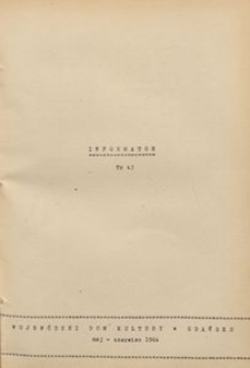 Infomator / Wojewódzki Dom Kultury w Gdańsku, 1964, nr 43