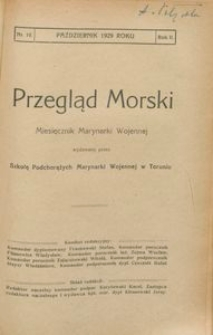 Przegląd Morski : miesięcznik Marynarki Wojennej, 1929, nr 10