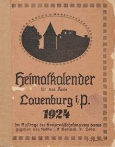 Heimats- und Wohlfahrtskalender für den Kreis Lauenburg i/P. 1924