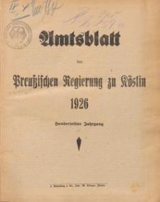 Amtsblatt der Preuβischen Regierung zu Köslin 1926