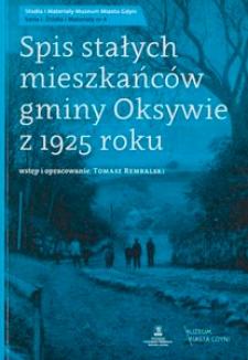 Spis stałych mieszkańców gminy Oksywie z 1925 roku