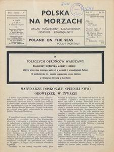 Polska na Morzach = Poland on the Seas : organ poświęcony zagadnieniom morskim i kolonjalnym : Polish monthly, 1944, nr 20