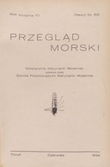 Przegląd Morski : miesięcznik Marynarki Wojennej, 1934, nr 63